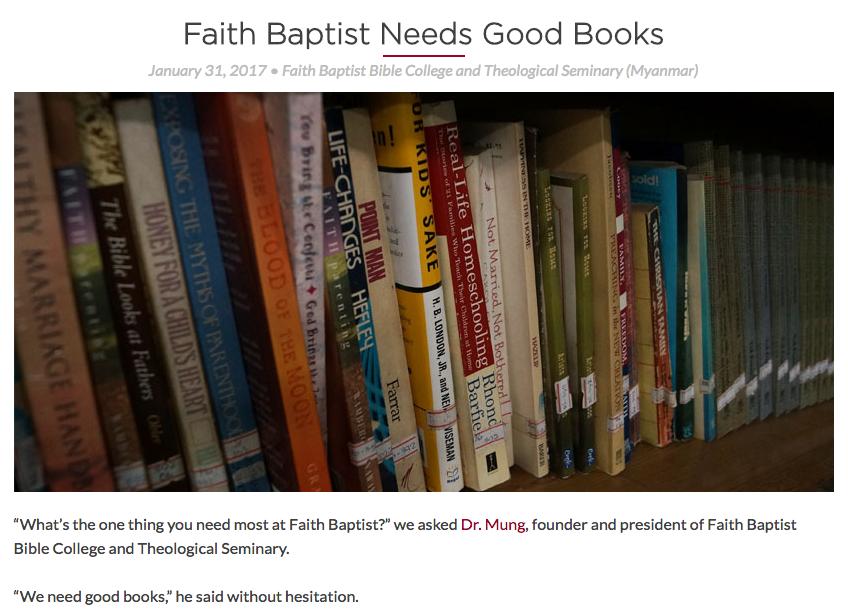 Faith Baptist Needs Good Books