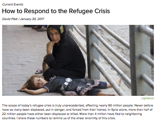 David Platt refugee article