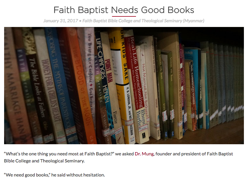 Faith Baptist Needs Good Books
